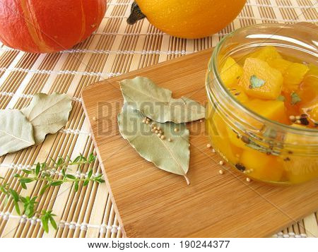 Sweet and sour pumpkin vegetables in jar