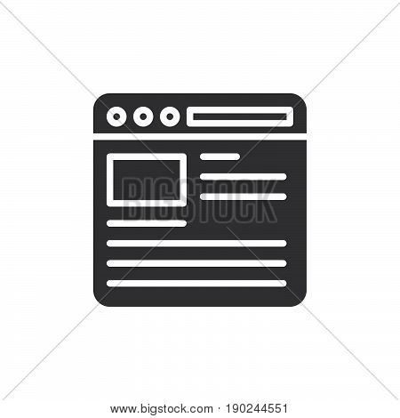 Web browser icon vector filled flat sign solid pictogram isolated on white. Internet page symbol logo illustration. Pixel perfect
