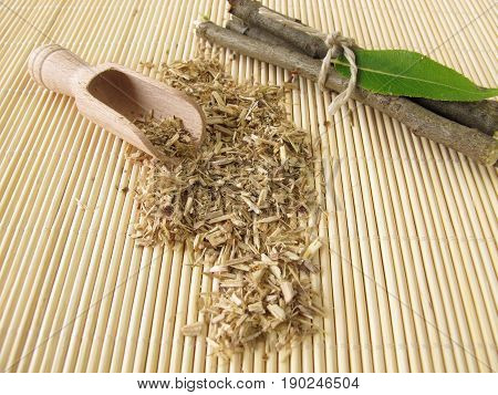 Loose tea from willow bark and fresh bark and leaves poster