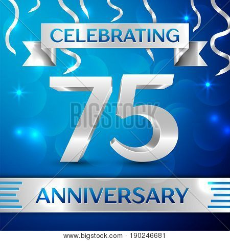 Seventy five Years Anniversary Celebration Design. Confetti and silver ribbon on blue background. Colorful Vector template elements for your birthday party. Anniversary ribbon