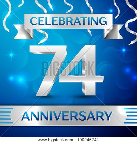 Seventy four Years Anniversary Celebration Design. Confetti and silver ribbon on blue background. Colorful Vector template elements for your birthday party. Anniversary ribbon