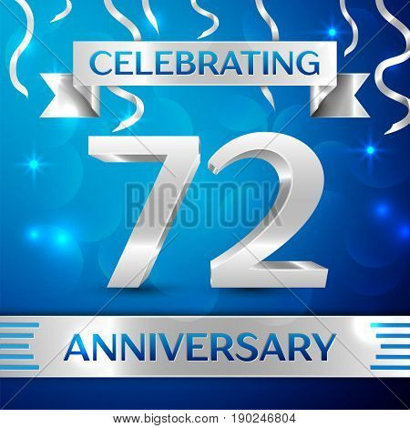 Seventy two Years Anniversary Celebration Design. Confetti and silver ribbon on blue background. Colorful Vector template elements for your birthday party. Anniversary ribbon