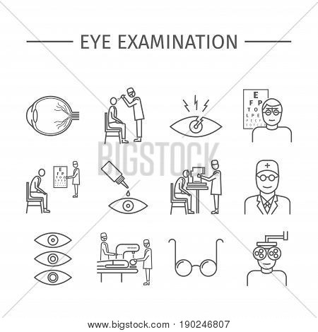 Eye Examination. Line icons set. Vector signs for web graphics.