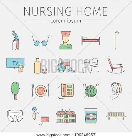 Nursing Home line icon. Medical Care for The Elderly. Symbols of Older People Vector illustration.