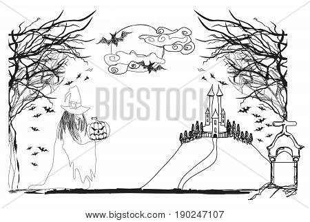 Illustration of witch with Halloween pumpkin doodle
