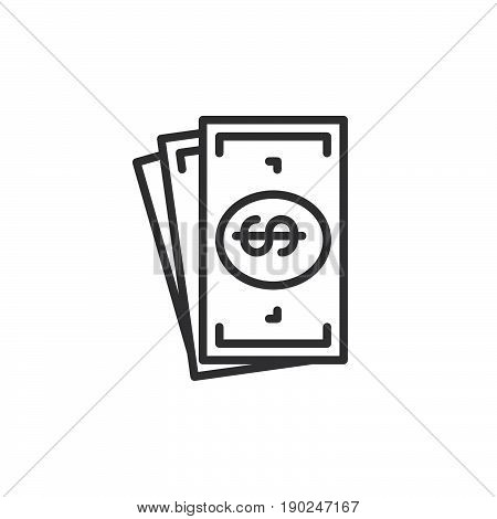 Cash money line icon outline vector sign linear style pictogram isolated on white. Symbol logo illustration. Editable stroke. Pixel perfect