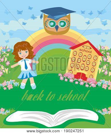 Girl going to school , vector illustration