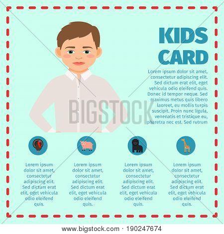 Kids card infographic with sad boy for kindergarden design. Vector illustration