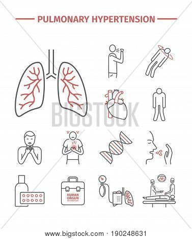 Pulmonary Hypertension line icons set. Vector sign
