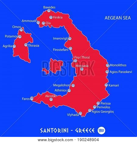 Island Of Santorini In Greece Red Map Illustration