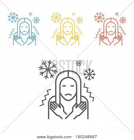 Girl chill, fever on white background. Vector illustration