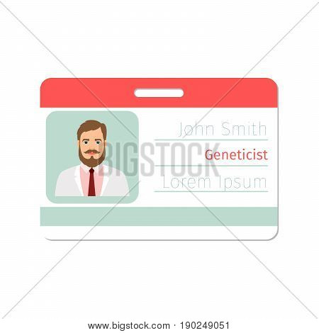 Geneticist medical specialist badge template for game design or medicine industry. Vector illustration