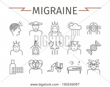 Migraines Infographics. Migraine symptoms. Headache line icons. Vector set