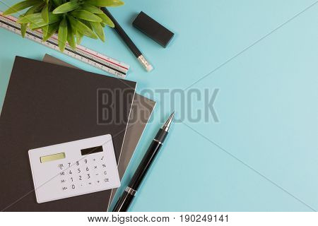Top View. Modern Business Office Desk Table With Modern Business Supplies Book, Pen Ruler And Calcul