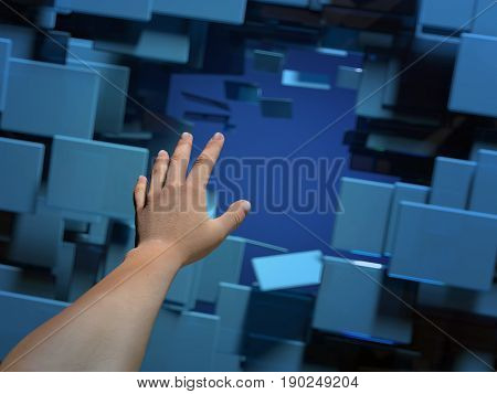 Human hand breaks the walls, 3d illustration