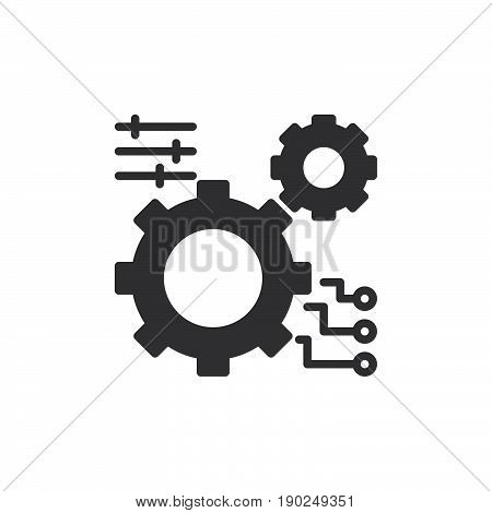 Gear settings icon vector filled flat sign solid pictogram isolated on white. Symbol logo illustration. Pixel perfect