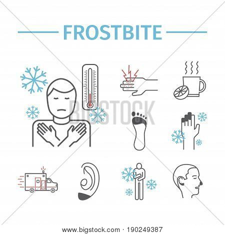 Frostbite. Line icons set. Vector signs for web graphics.
