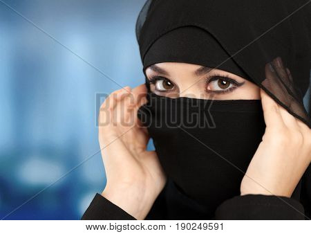 Woman mysterious arabian close up head shot middle eastern isolated