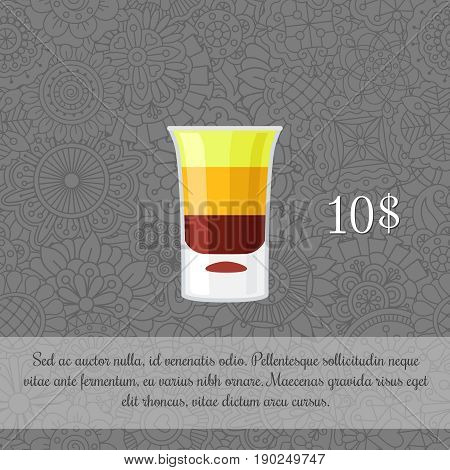 Alcoholic cocktail B-52 card template with price and patterned background. Vector illustration