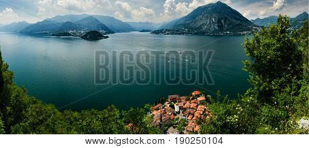 Aerial view on Lake Como and Varenna from Castello di Vezio, Lombardy, Italy