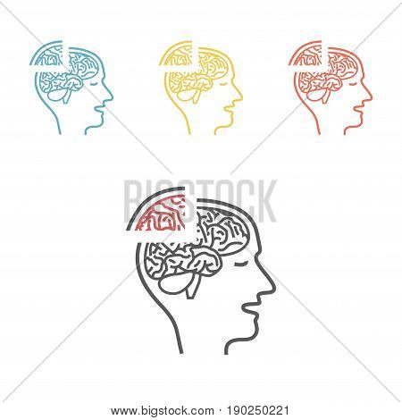 Memory loss line icon. Alzheimer disease. Vector illustration