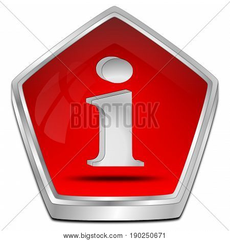 glossy red Information Button - 3D illustration