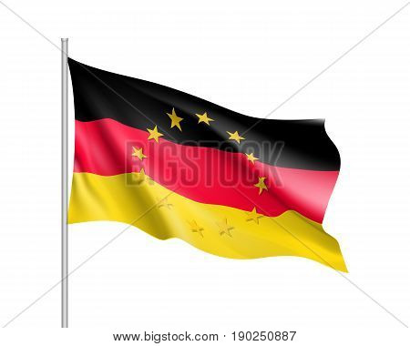 Germany national waving flag with a circle of European Union twelve gold stars, political and economic union, EU member since 1 January 1958. Realistic vector illustration