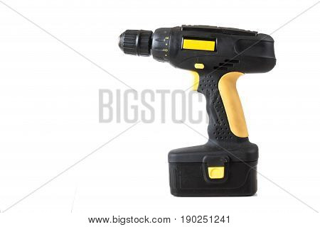 Cordless handheld electric power drill isolated on white