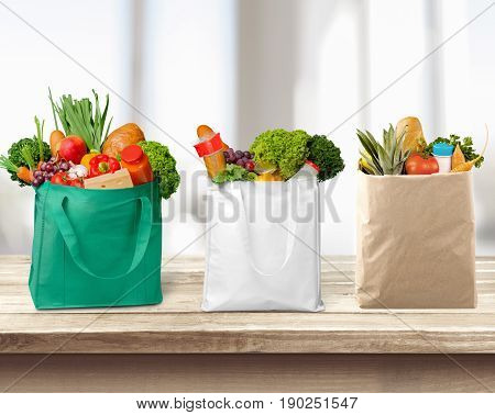 Shopping full bags self service green white background