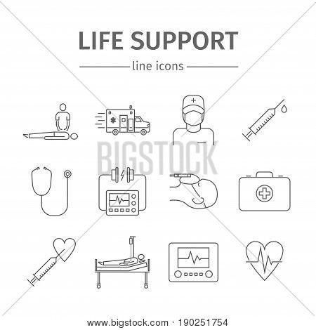 Reanimation symbols. Life support line icons. Vector illustration
