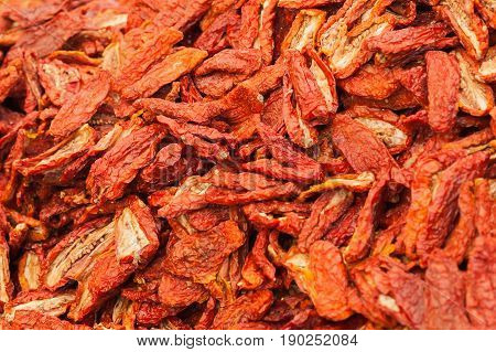 Sun-dried Tomatoes From Top View.