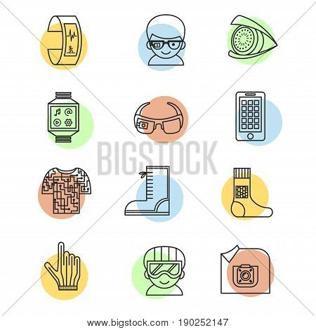 Set of vector icons for wearable technologies.