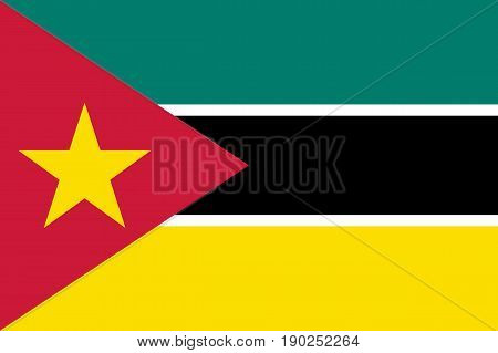 National flag of Mozambique. Symbol african state in proportion correctly and official colors and star. Patriotic sign East Africa country. Vector icon illustration