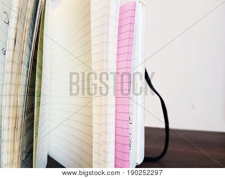 A close up image of A5 notebook pages