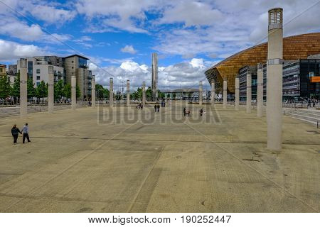 Cardiff Bay Cardiff Wales - May 20 2017: Millennium Centre building and square side view.