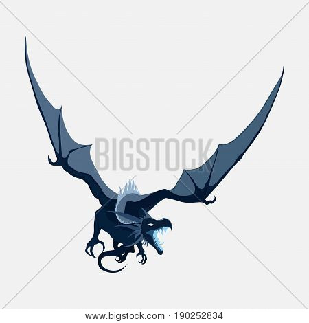 flying dragon zodiac symbol company logo vector dragon emblem flat style