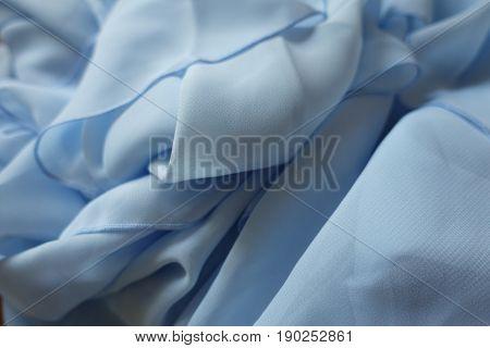 Crumpled Thin Light Blue Polyester Chiffon Fabric