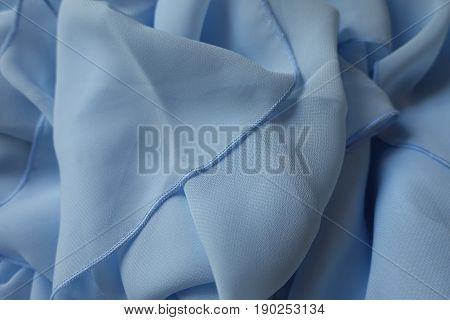 Draped Chiffon Cloth In Pastel  Blue Color