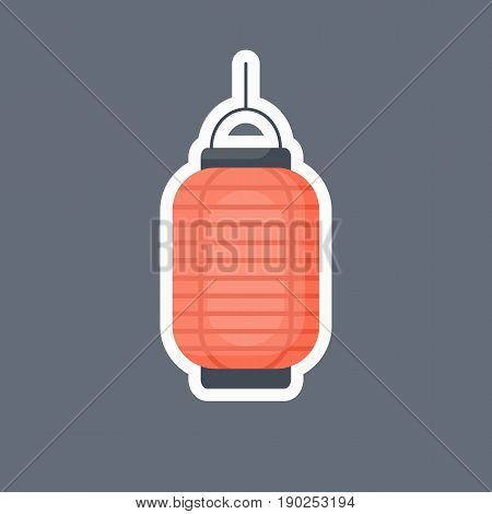 Lantern icon Flat design of Chinese or Japanese red lantern with round shadow Vector illustration