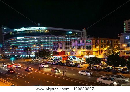 Kota Kinabalu,Sabah-May 28,2017:Kota Kinabalu city night view on 29th May 2017 in Kota Kinabalu,Sabah,Malaysia.Kota Kinabalu City is hub for islands,resorts,award winning sunsets & Mount Kinabalu.