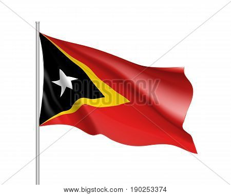 Waving flag of East Timor. Illustration of Asian country flag on flagpole. Vector 3d icon isolated on white background