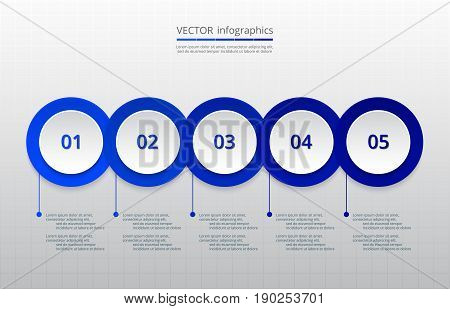 Infographics step by step. Dark blue abstract element of chart graph diagram with 5 steps options parts processes. Vector business template for presentation and training.