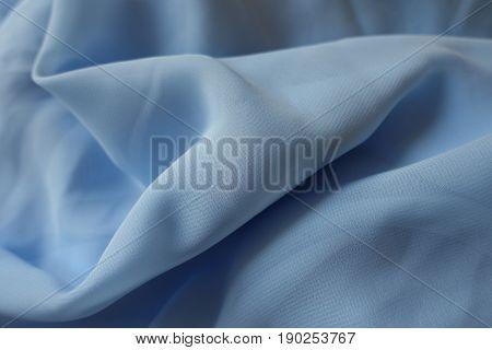 Draped Lightweight Sky Blue Polyester Chiffon Fabric