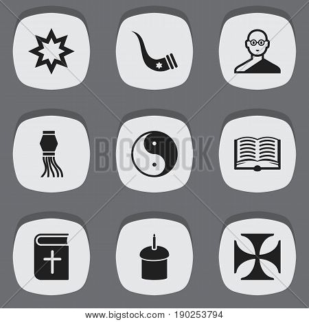 Set Of 9 Editable Faith Icons. Includes Symbols Such As Teutonic, Tusk, Asterisk And More. Can Be Used For Web, Mobile, UI And Infographic Design.