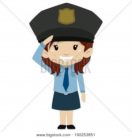 Vector Illustration of Police Kid Girl Hand Salute