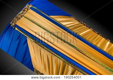 closed coffin covered with elegant cloth isolated on gray background. coffin close-up on royal background. Ritual objects for burial. Surrender body dust of the earth. Christian funeral ritual