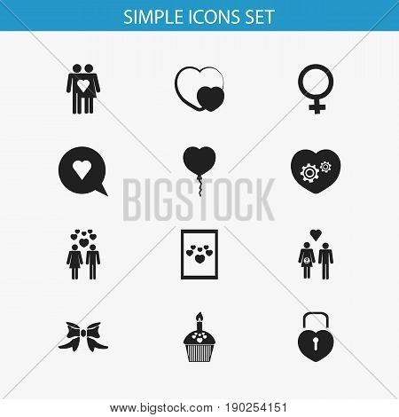 Set Of 12 Editable Love Icons. Includes Symbols Such As Butterfly, Image, Locked Heart And More. Can Be Used For Web, Mobile, UI And Infographic Design.