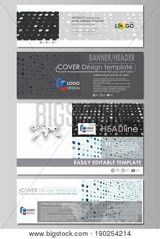 Social media and email headers set, modern banners. Business templates. Easy editable abstract design template, vector layouts in popular sizes. Abstract soft color dots with illusion of depth and perspective, dotted technology background. Multicolored pa