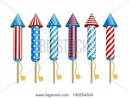 Set of  pyrotechnic  firework  rockets  in  American  national  flag  colors isolated  on  white background. 4th of July,  USA  Happy  Independence  Day Vector Illustration.