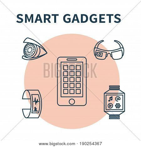 Smart gadgets. Vector illustration with thin line icons of smart glasses, fitness tracker, smart watch, pnone, contact lens. Concept design for wearable technology.